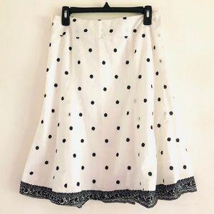 gap Black & White A-Line Polka Dot Print Skirt